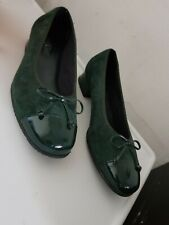 Hotter Marilyn Womens UK 6.5 Green Suede Patent Leather Diamond Stitch Shoes 40