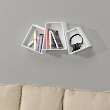 [en.casa] Étagère murale en kit de 3 étagère suspendre étagère de livre CD blanc