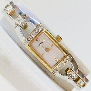 Fossil Diamond Womens TINY WRIST Dress Watch Two Tone Stainless Bracelet ES-1713