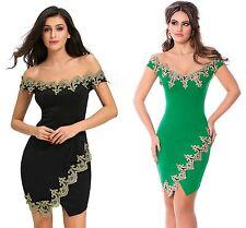 New Gold Lace Applique Black Green Off Shoulder Asymmetric Mini Dress 8 10 12 14