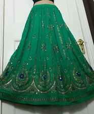 Ladies Indian Boho Hippie Long Sequin Skirt Rayon  JADE GREEN colour elasticated