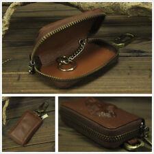 Genuine Leather Fashion Car Key Holder Men's Keychain Zipper Key Bag Horse Print