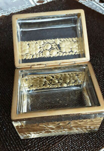 Vintage Glass Trinket Jewerlry Box with Gold Decoration
