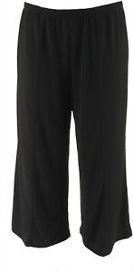 Joan Rivers Pull-On Jersey Knit Palazzo Pants Black L NEW A303845