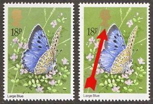 1981 18p Butterflies Gold Queens Head colour shift
