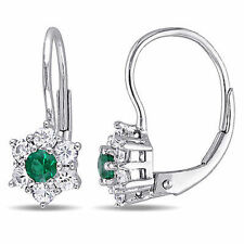Amour 10k White Gold Emerald and White Sapphire Star Leverback Stud Earrings