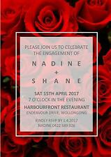 Engagement Wedding Invite Invitation Party Roses Flowers Floral Red Vase Modern