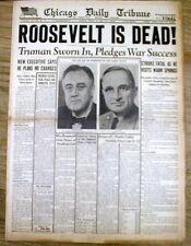 <1945 Chicago Tribune newspaper FRANKLIN ROOSEVELT DEAD Harry Truman President