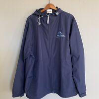 Walt Disney World Rain Jacket Cotton Blue Coat M Hooded With Full Zip Sz M