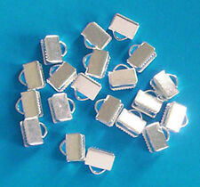 40 silver plated medium (8mm) clasps/clamps for ribbon, findings for jewellery