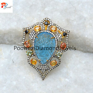 Carving Blue Topaz Brooch Pave Diamond Pin 925 Silver Multi Sapphire Brooch Gift