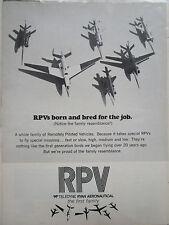 9/1972 PUB TELEDYNE RYAN AERONAUTICAL RPV REMOTELY PILOTED VEHICLE ORIGINAL AD