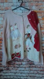 susan bristol hand embroided size xl cardigan vintage armpit to armpit 23 inches