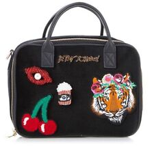 """NEW BETSEY JOHNSON Black Velver """"CHERRIES, TIGER, LIPS"""" Lunch Tote -NWT"""