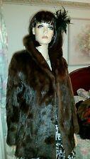 Vintage Genuine Real Mink Dyed Russian Brown Marmot Fur Coat Jacket Sz 10-12 EUC