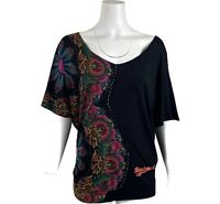 DESIGUAL Womens Sz M Black Viscose Beaded Embellished Graphic Floral T-Shirt Top