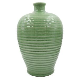 Japanese Chinese Celadon Green Crackled Ceramic Vase Meiping Plum Ribbed Antique