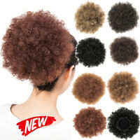 Hot Afro Puff Drawstring Ponytail Short Kinky Curly Hair Bun Synthetic Extension