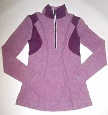 LULULEMON RUN YOUR HEART OUT PULLOVER HALF ZIP TOP HEATHERED PLUM YOGA EUC sz 4