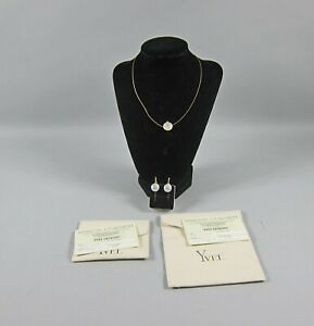 ESTATE YVEL 18K GOLD DIAMOND BIWA COIN PEARL NECKLACE EARRINGS SET w/Papers