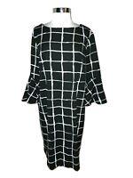 LIZ CLAIBORNE Size 18 Shift Dress Black White Long Sleeve Stretch Knee Length