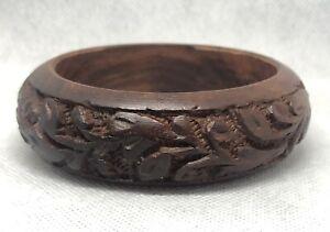 Vtg HAND CARVED Wood Tribal Bangle Bracelet~ Beautiful Wood Grain~Excellent cond