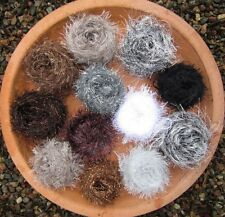 Mixed BALLS CRAFT PACK. FUNKY FUR BROWN/GREY/BLACK knitting/crochet YARN. 200g.