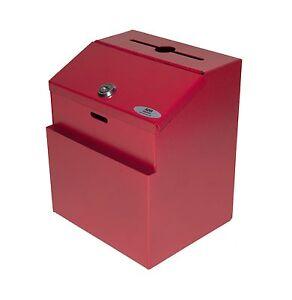 AdirOffice Wall Mountable Steel Suggestion Box W/ Lock Collection Box