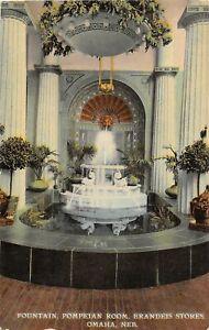 H60/ Omaha Nebraska Postcard c1910 Fountain Pompeian Brandeis Store154