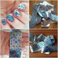CHRISTMAS HOLOGRAPHIC SILVER SNOWFLAKE nail art foil sticker silver glitter foil