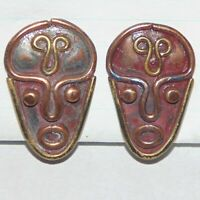 Vintage Rebajes style midcentury modernist face copper brass screwback earrings