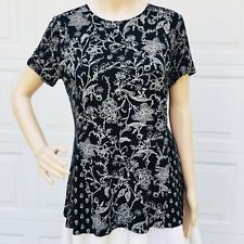 J Jill  S Small  Black Floral Jersey  Top Tunic Tee Scoop Neck Shirt NEW
