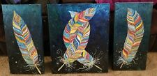 Lot of 3 Grouped Brightly Colored Feather Original Paintings Signed Hank Ros