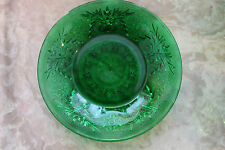 ANCHOR HOCKING FOREST GREEN DEPRESSION GLASS CUSTARD CUP LINER - SANDWICH