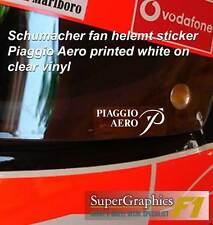 Schumacher fan crash casque visière autocollant piaggio aero seriffo blanc sur clair x2