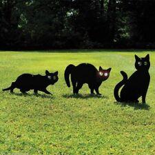 3 Pack Black Cat Decoys Pest Control Rodent Cat Deterent Metal Cat Scarecrows
