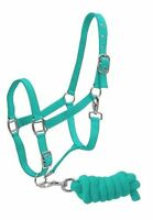 TEAL Horse Size Adjustable Nylon Halter W/ Matching Lead Rope! NEW HORSE TACK!