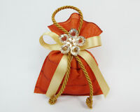 Bomboniera Sacchetto 10 cm ocra fiore metallo e diamanti wedding anniversario