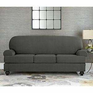 Sure Fit faux Suede Slate gray Sofa Slipcover 3 cushion style t or box