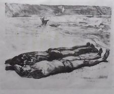 John Copley 1875-1950 FINE originale signée Lithographie Sunbathers on the Beach