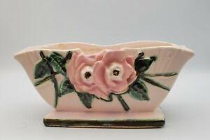 Vintage McCOY WILD ROSE PLANTER VASE ~ Signed ~ Pink flowers SO SWEET!