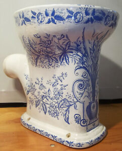 RARE Antique Victorian Floral Blue Transfer Omega Wash Down Porcelain Toilet