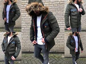 HERREN Winter PARKA KAPUZE Russia Mode STYLE FASHION FELL Mantel Jacke