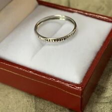 Vintage 9ct White Gold band Wedding Stacker ring 2.2 mm wide