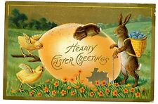 Congratulations-Stork W/ Pipe & Baby-Pfb Embossed Postcard Birth Annoucement