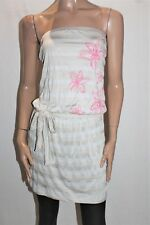 WISH Designer Light Grey Striped Floral Strapless Dress Size 12 BNWT #TH63