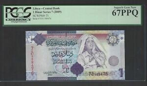 Libya One Dinar Series 7 (2009) P71 Uncirculated Graded 67