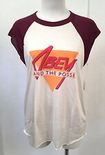 Obey Women's Muscle Tank Top The News Tan/Maroon Size S NWT Shepard Fairey