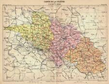 Schlesien, Polen, Landkarte von Erhard,  Farblithographie von 1888