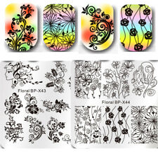 2Pcs Nail Stamping Plates Flower Image Template Stencil Nail Art Set Born Pretty
